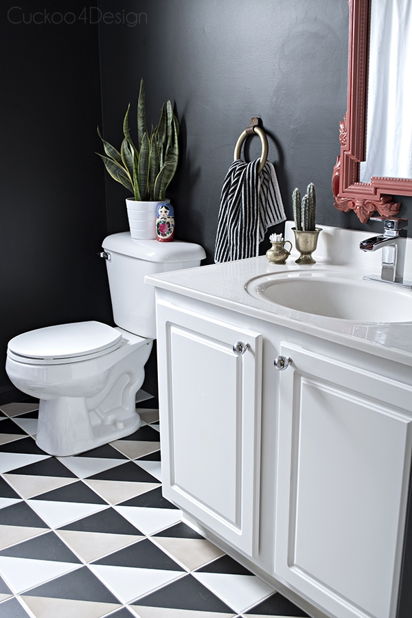 black bathroom with graphic tiles - Cuckoo4Design
