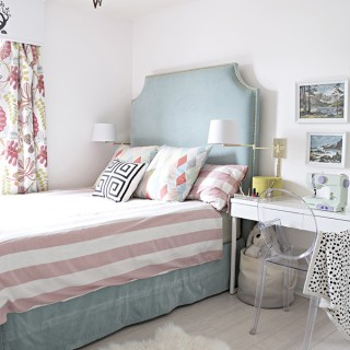 turquoise, mint and pink little girls room with moravian star chandelier - Cuckoo4Design