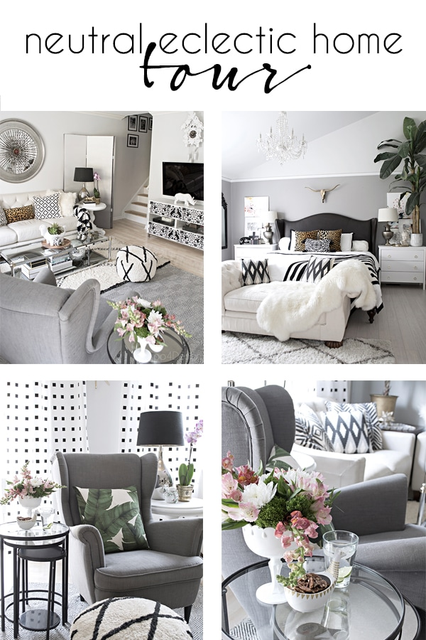 neutral eclectic home tour with black and white accents and a mix of patterns and texture | grey wingback chair | midcentury modern ivory leather sofa