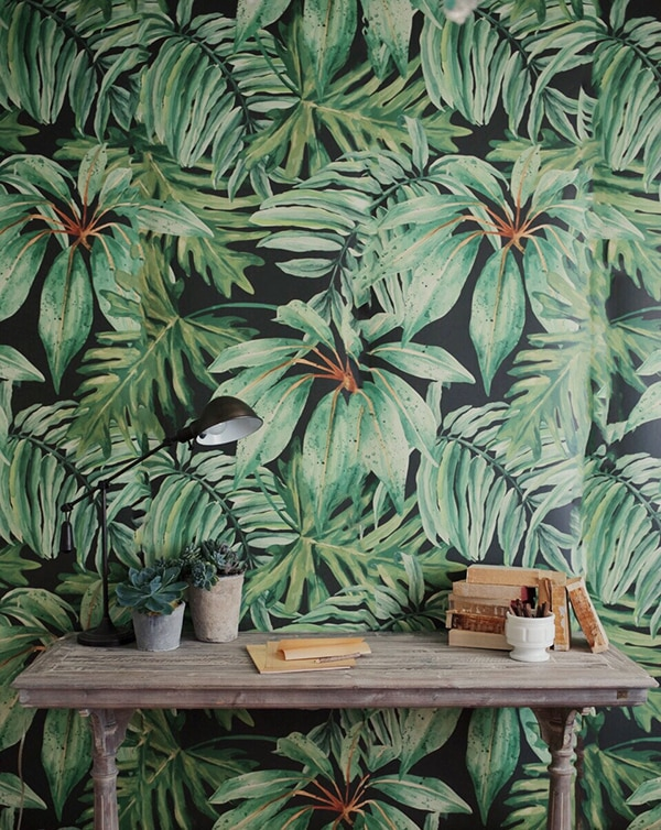 tropical leaf print wall mural