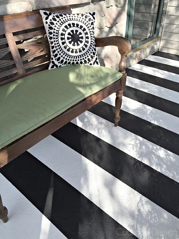 Black and white striped painted concrete porch - Cuckoo4Design