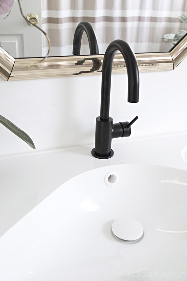 Ikea Godmorgon sink and black Delta Trinsic bar prep faucet   Cuckoo4Design. Master Bathroom Updates   Cuckoo4Design
