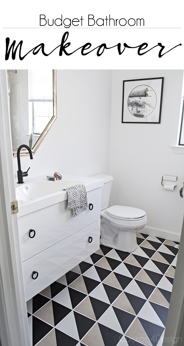 Budget Bathroom Makeover with Ikea Godmorgon sink and graphic black and white tiles - Cuckoo4Design