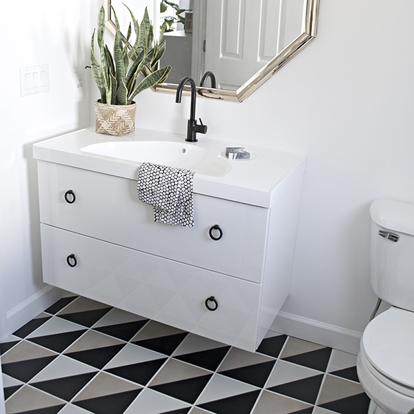 Ikea Godmorgon sink and graphic black and white tiles