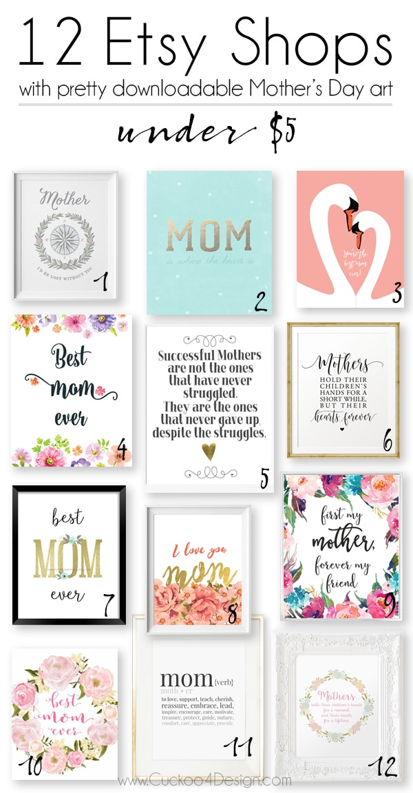 Last Minute Gift Idea: Mothers Day Printables for under $5 - Cuckoo4Design