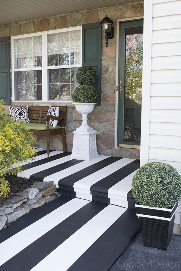beautiful striped concrete porch