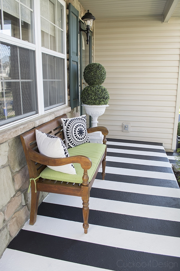 striped concrete front porch makeover