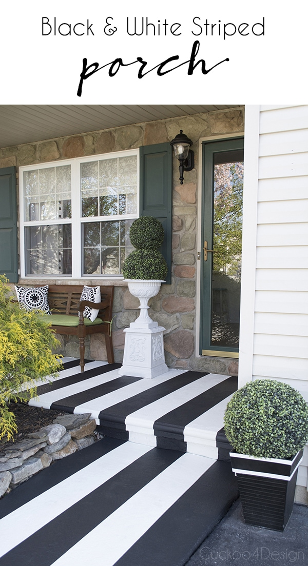 black and white striped front porch
