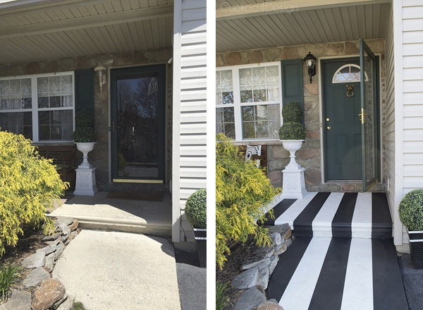 before and after of concrete front porch makeover
