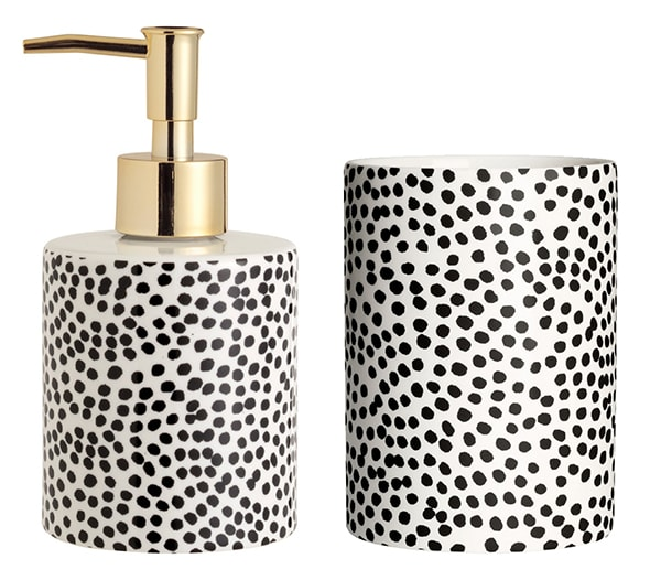 black and white polka dotted_bathroom accessorires