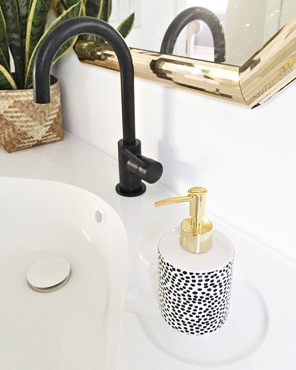 gold, black and white spotted soap dispenser - Cuckoo4Design_