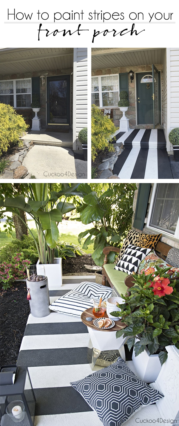 black and white striped front porch | how to paint stripes on your front porch | striped concrete | painted concrete front porch | how to paint front porch concrete | painting concrete porch problems | concrete front porch makeover | painting concrete porch #porchmakeover#curbappeal #patio