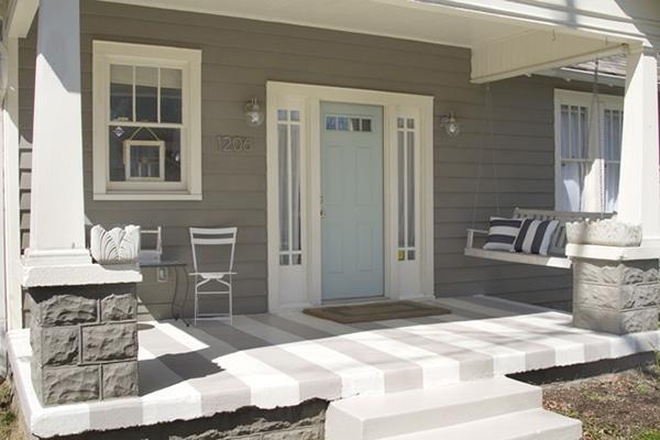painted striped concrete porch