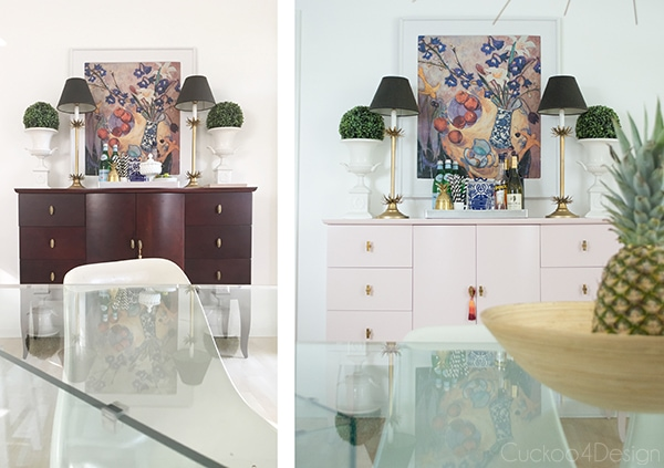 Quartz Pink dresser makeover: before and after