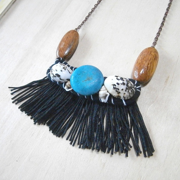 black tassel fringe and seashell necklace