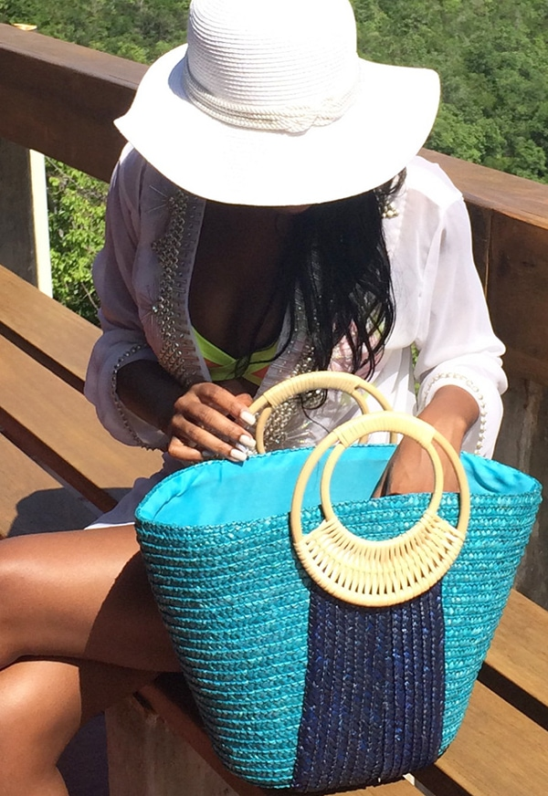 turquoise and blue straw basket beach bag