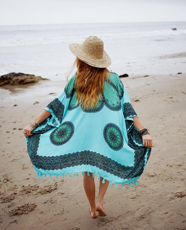 Turquoise Cotton Kimono