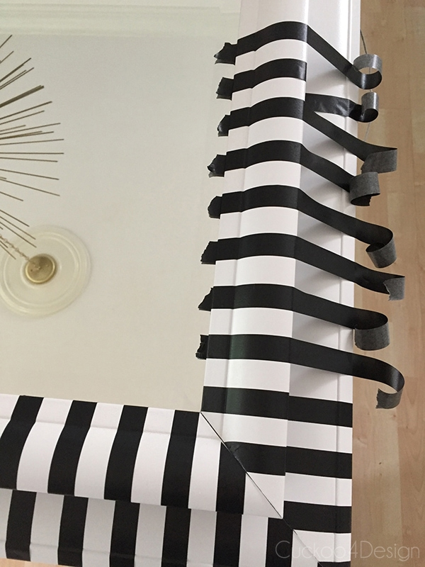 black and white striped washi tape mirror DIY