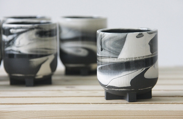 handmade black and white ceramic espresso mugs