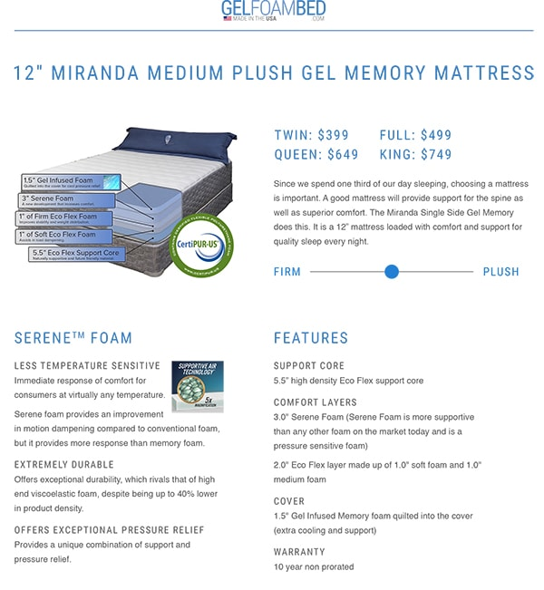gel foam mattress specs