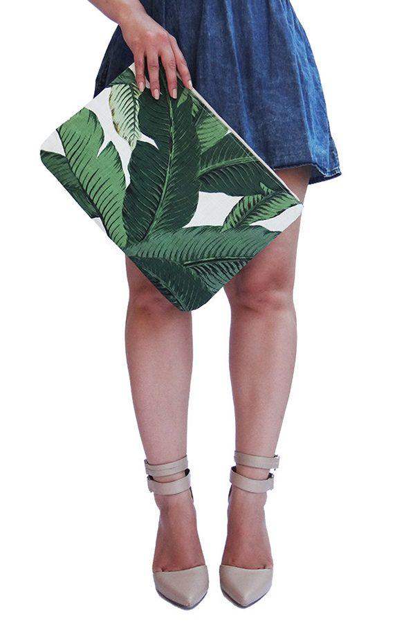 palm leaf clutch