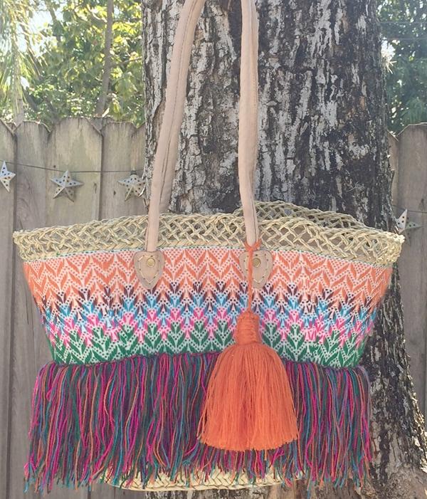 straw basket tassel beach bag