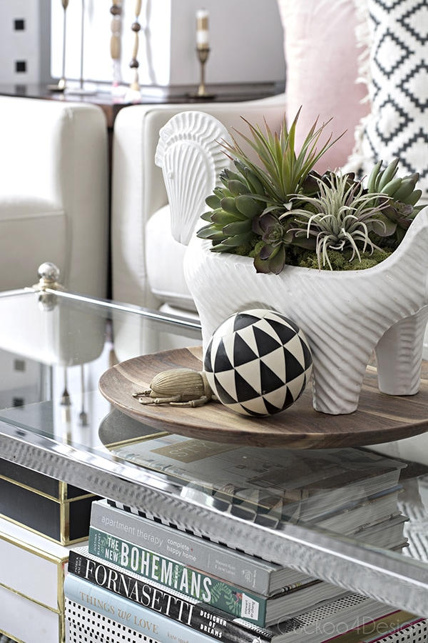 coffee table styling vignette