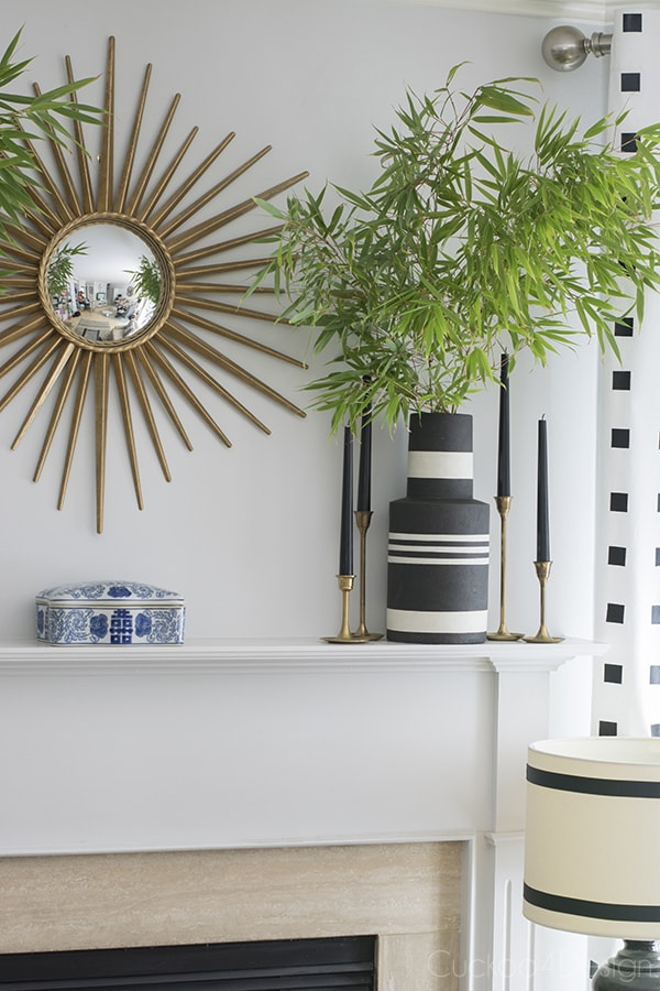 black and white neutral mantel