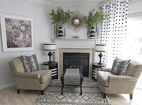black and white neutral fireplace area
