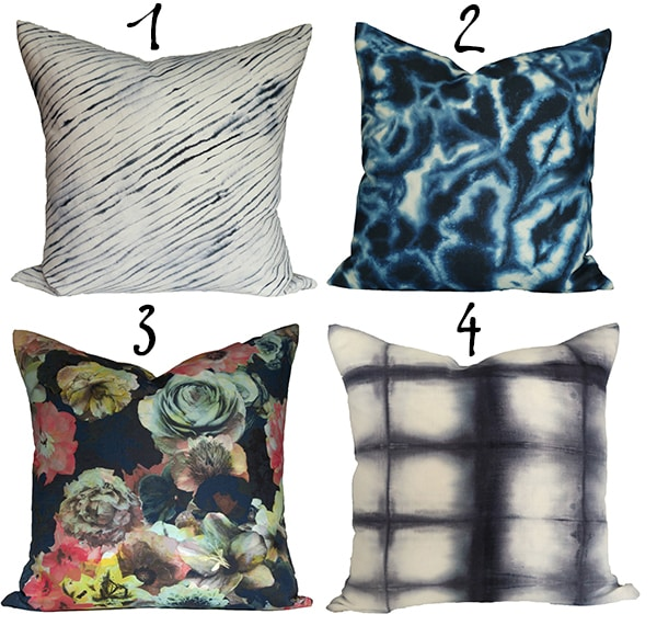 blue mix and match pillows