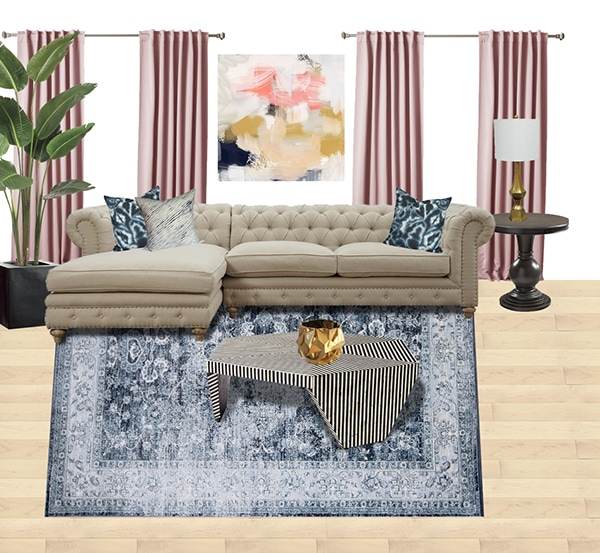 distressed denim rug moodboard