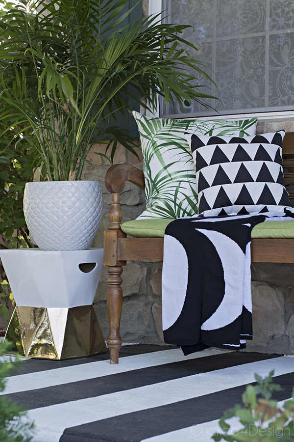 graphic black and white patterned front porch