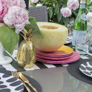 bright colored summer patio table setting