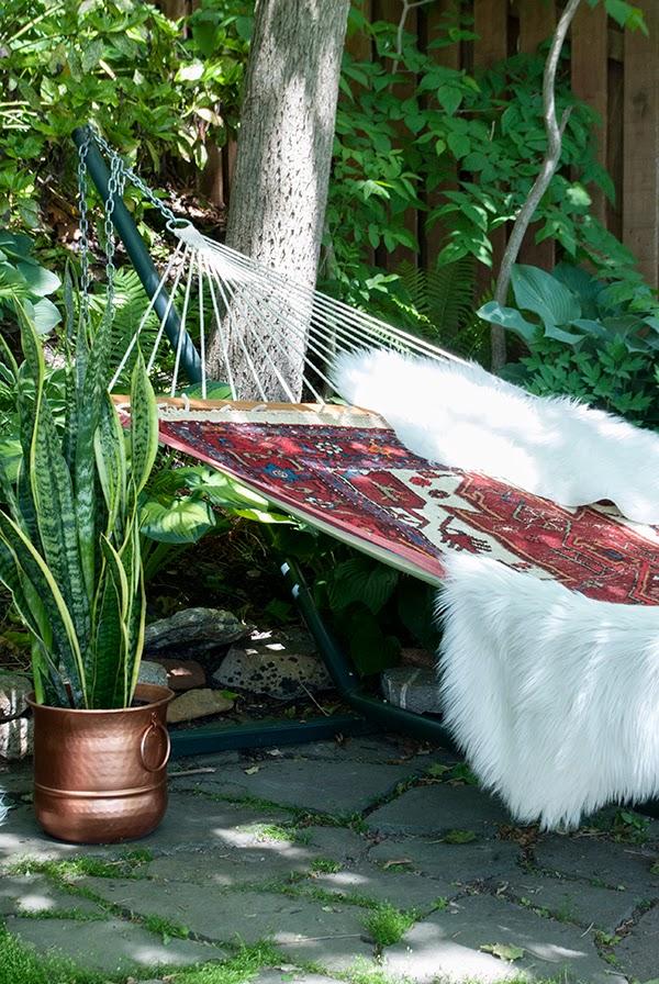 hammock with area rug