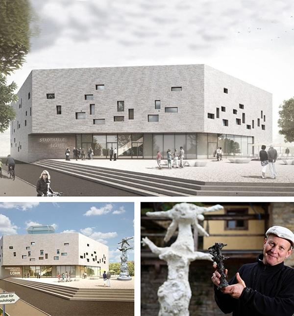 Lehrer Skulptur und Stadthallen roast
