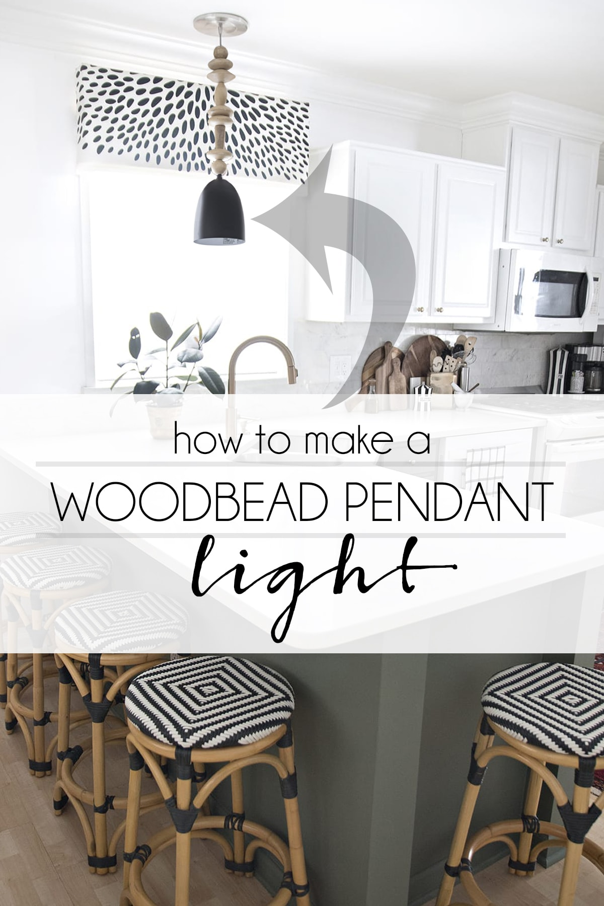 DIY wood bead pendant light