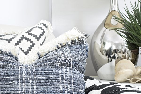 DIY fringe jeans Chindi rug pillows