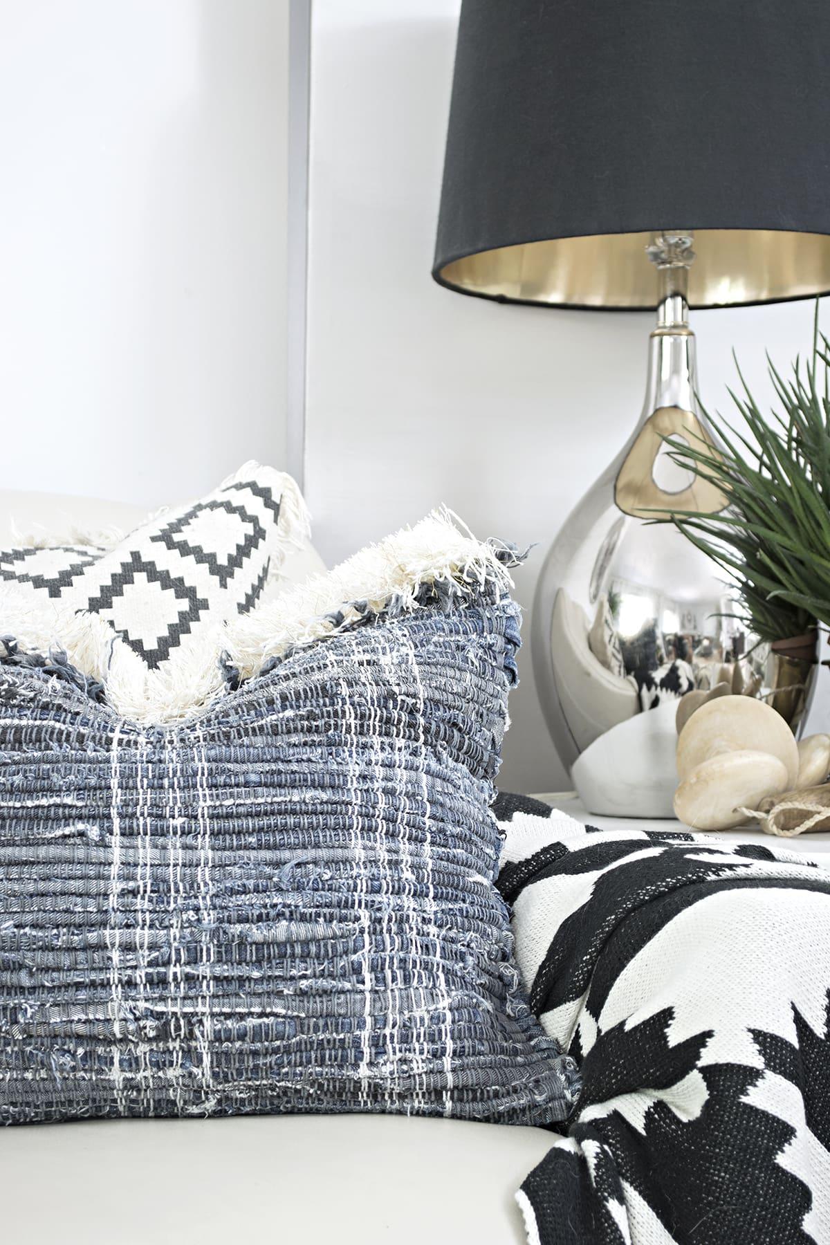 DIY fringe jeans rug pillows