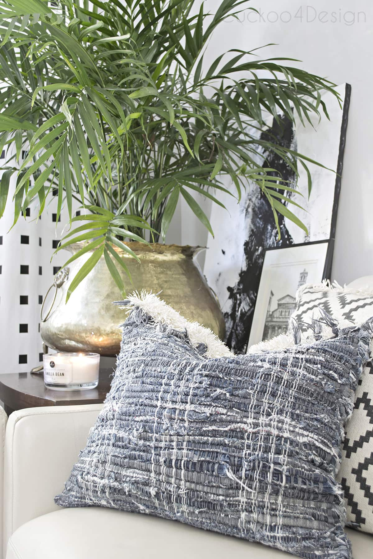 blue and neutral living room with boho jeansDIY pillow covers