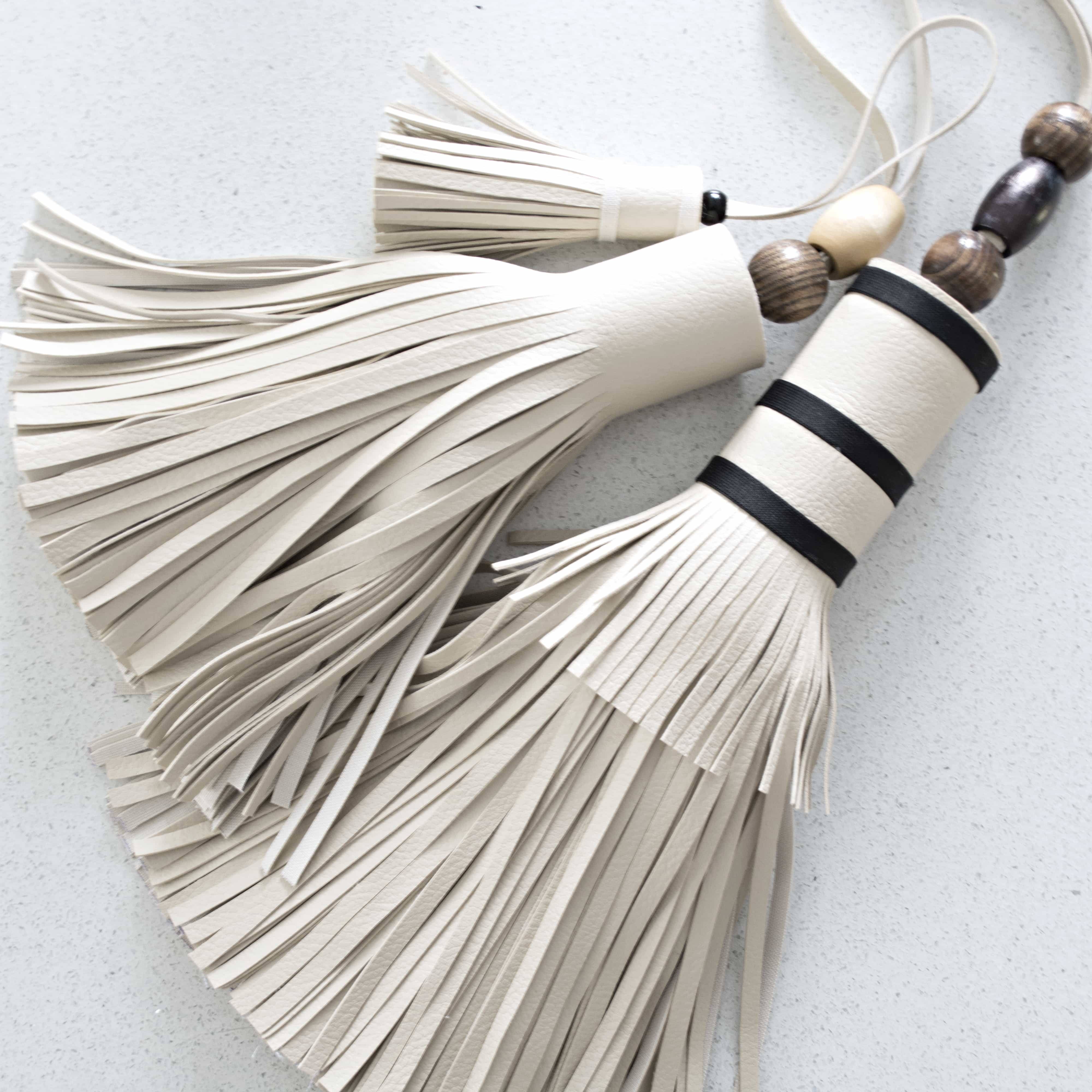 Giant leather tassel made from old sofa
