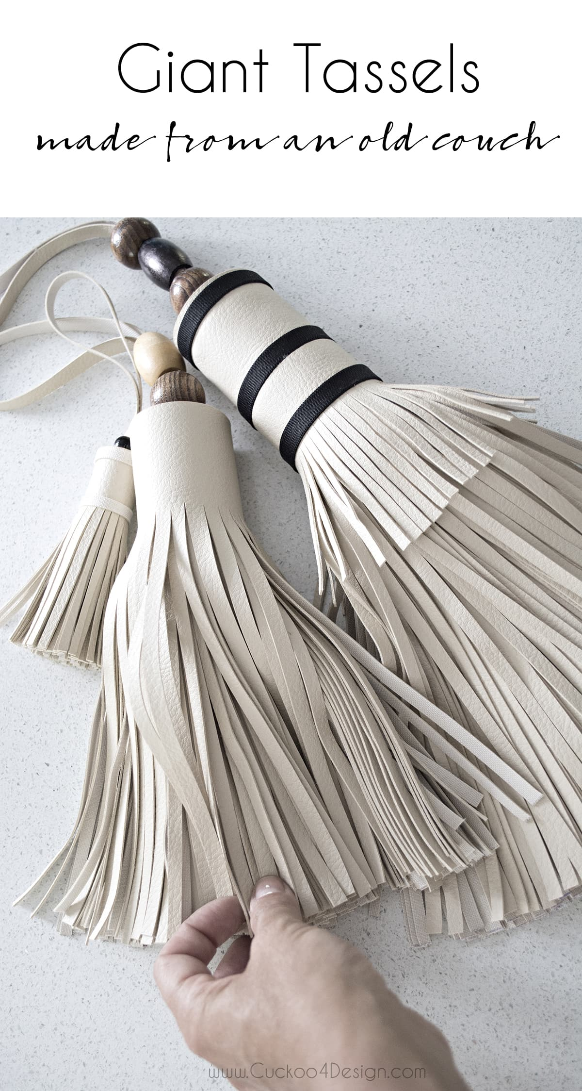 giant leather tassel from old an old leather couch