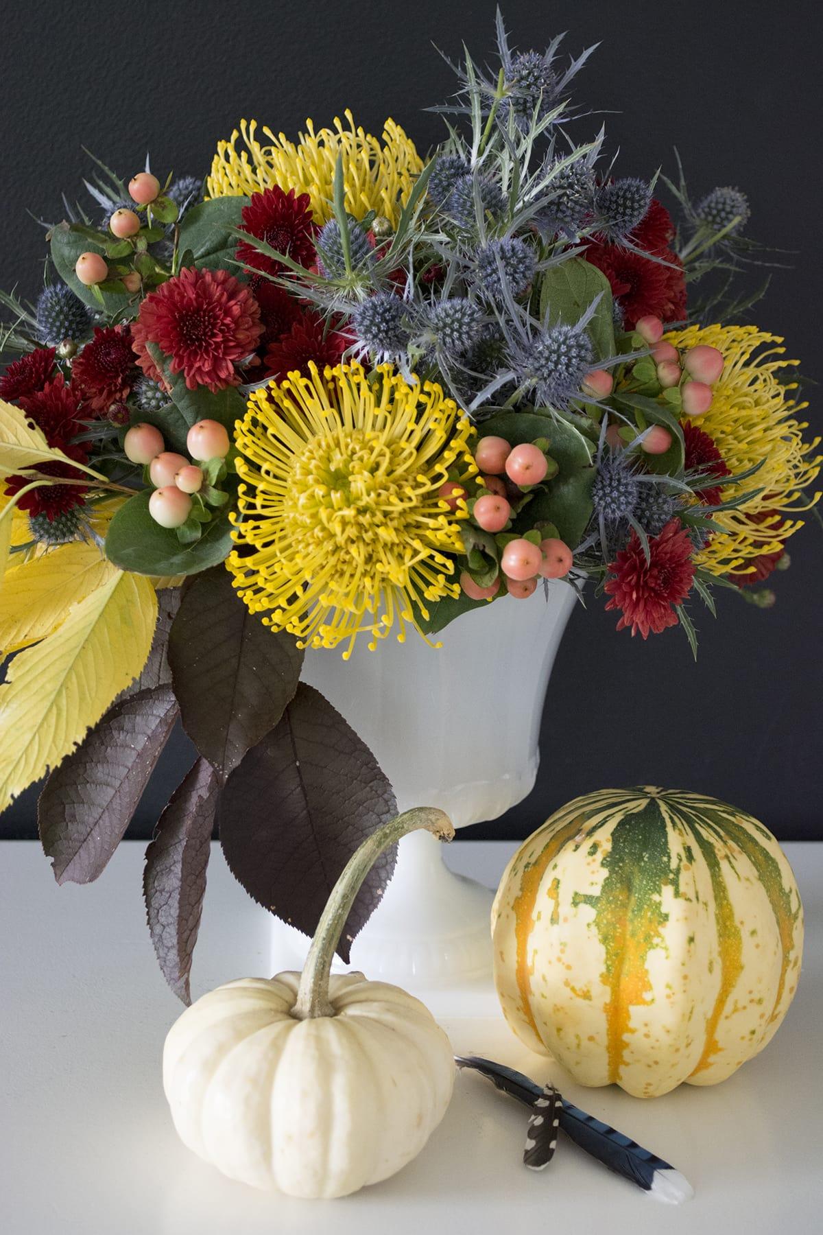 untraditional Fall and Halloween flower arrangement
