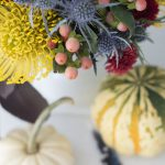 untraditional Fall and Halloween flower arrangement