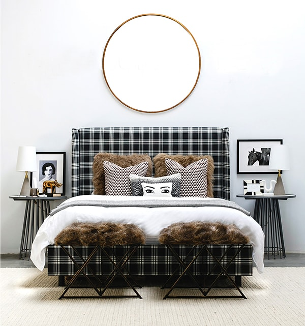 black and white plaid bed