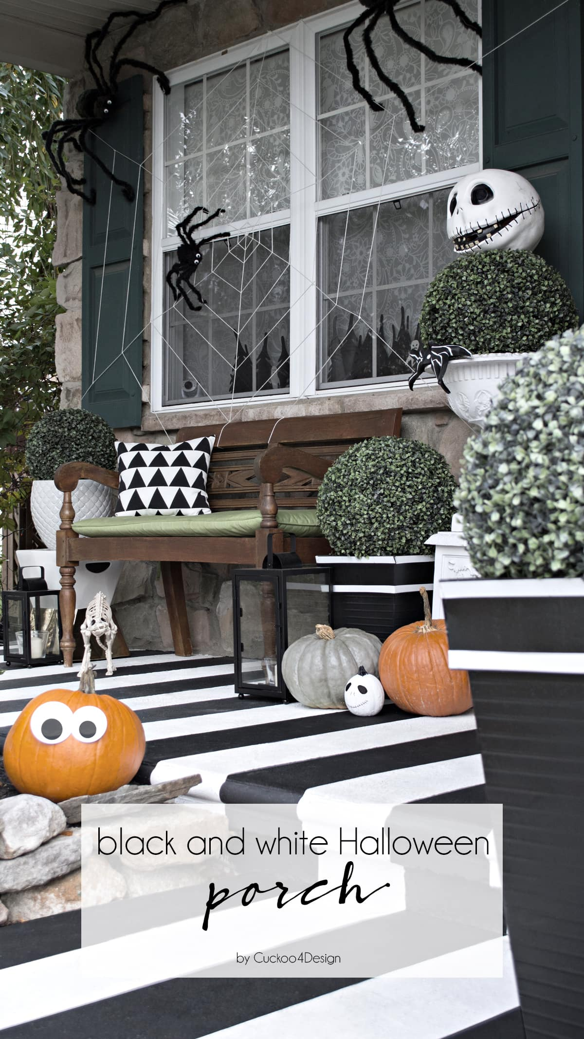 black and white Halloween decor for our front porch