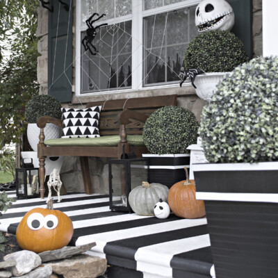 Black and white Halloween Front Porch