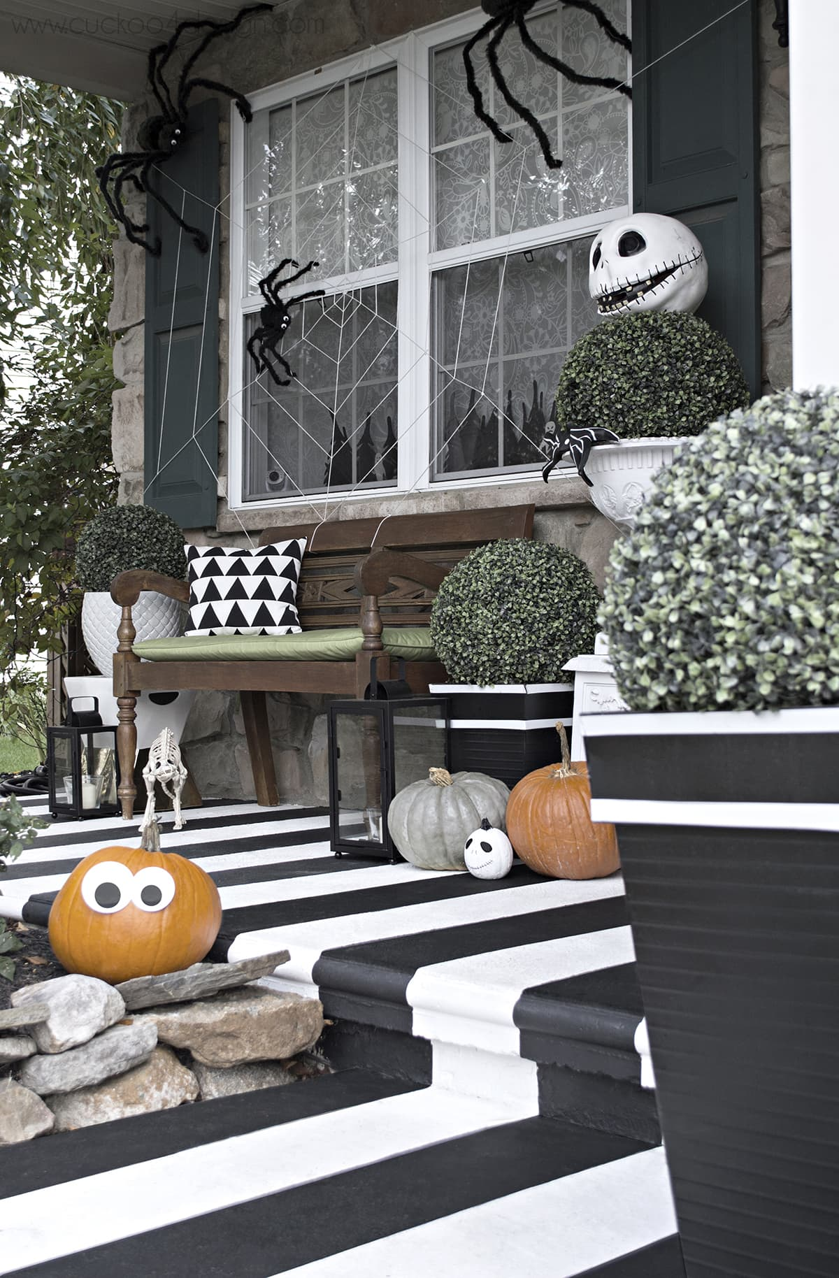 black and white Halloween decor for your porch