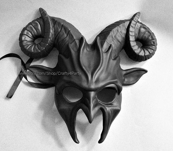 black mask with horns
