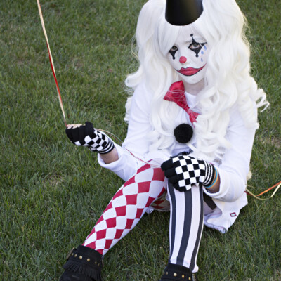 Easy and unique sad Harlequin costume