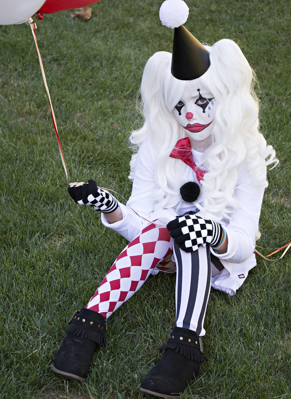 Easy and unique sad Harlequin costume